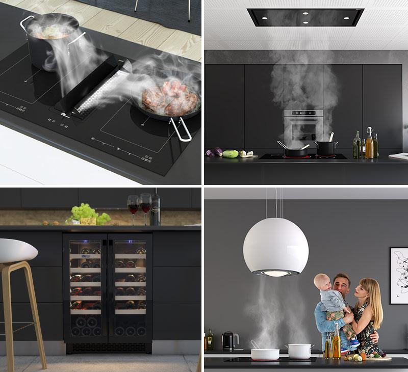 I dag finnes det utrolig mange ulike typer ventilatorer til kjøkkenet. Fullfør gjerne den moderne stilen med et innebygget vinskap. Foto: Thermex.
